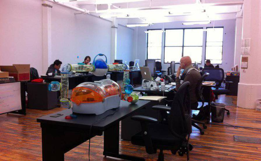 Desks available in a shared DUMBO loft space