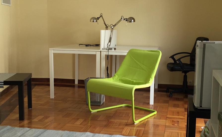 Private desk in small collaborative space