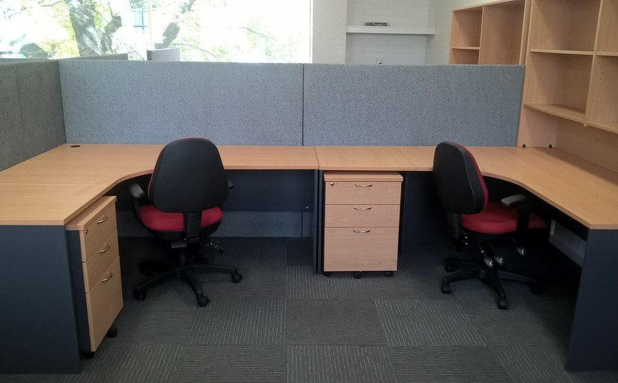 Dedicated desk in an open office area