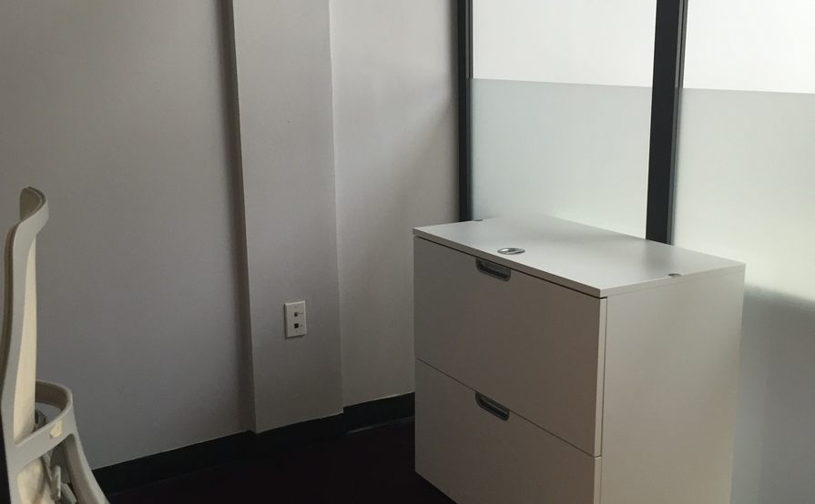 Semi-Private cube space with Desk & Storage Cabinet