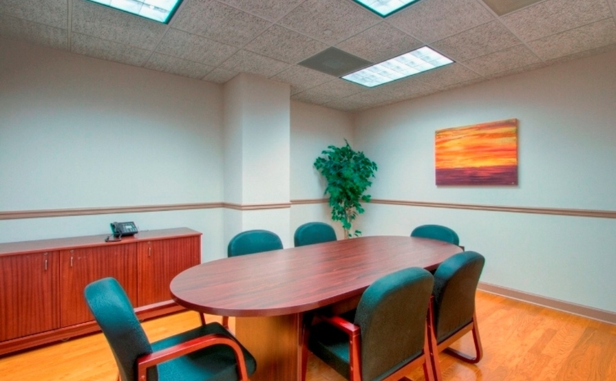 6 person conference room. Buckhead Room at Peachtree Offices at Lenox, Inc.