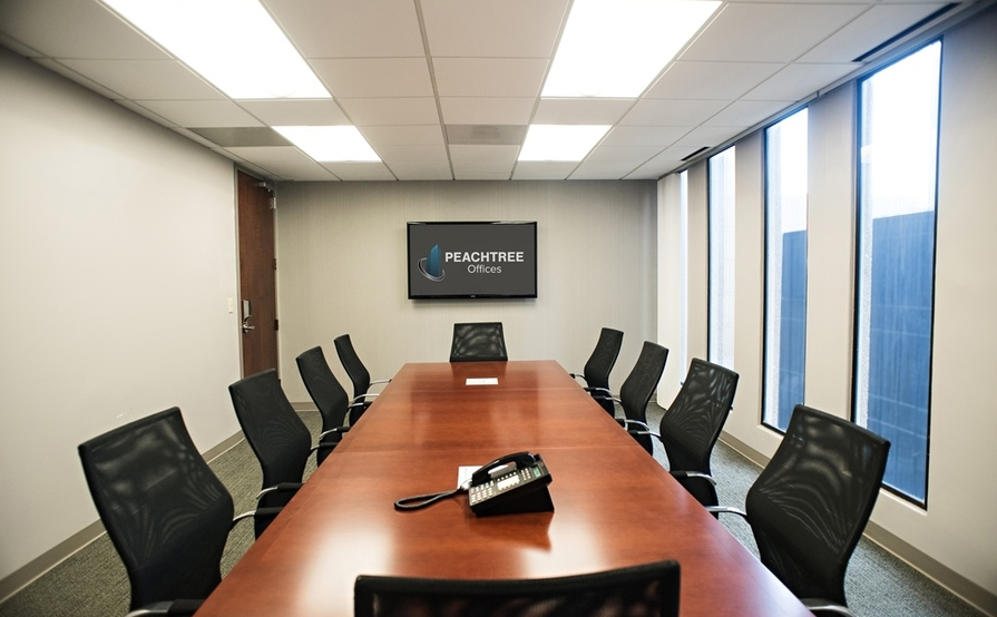 14 person conference room. Strategy Room at Peachtree Offices at Downtown, Inc.