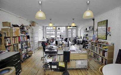 Light-filled design studio in warehouse building