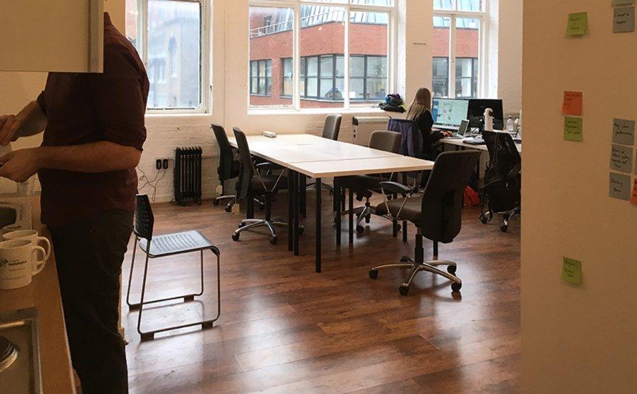 Island of five desks in office