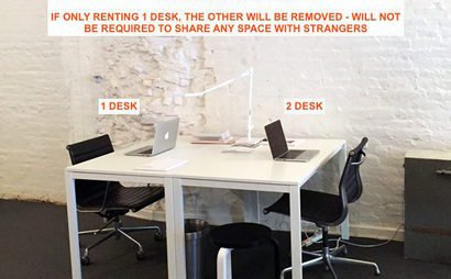1-2 desks in a shared open office space