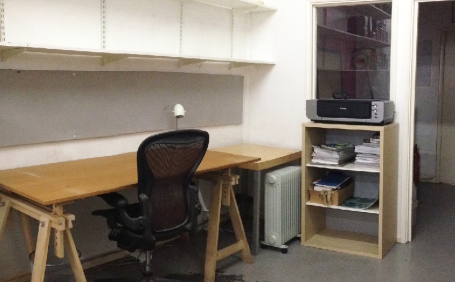 Desk space in creative studio