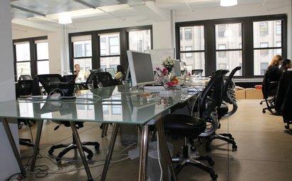 collaborative community workspace desks