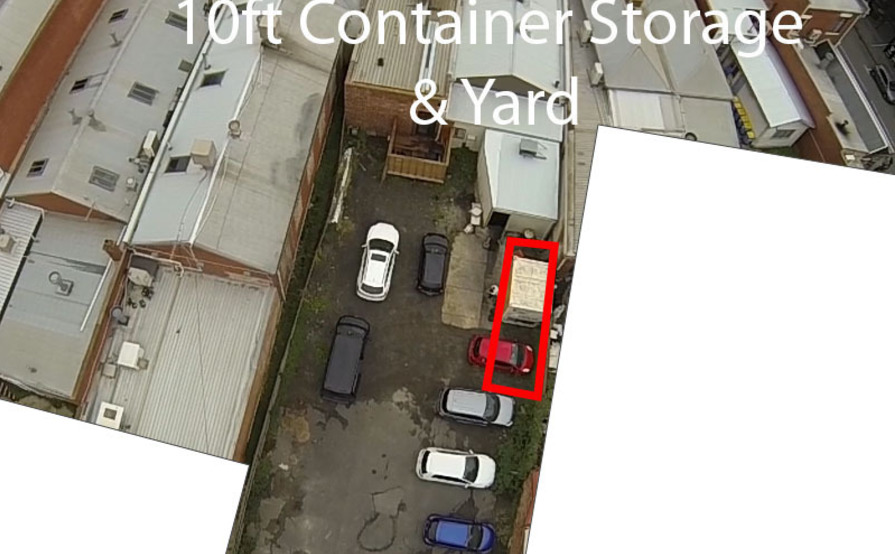 10 FT Lockable storage container with 2 yard spaces