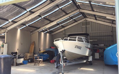 Boat or car storage in covered shed