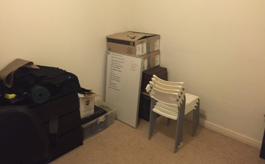 Spare bedroom for storage of household boxes and items